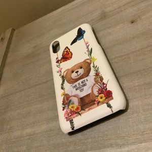 WHITE MOSCHINO IPHONE X PHONE CASE